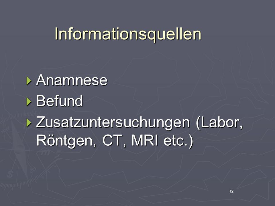 Informationsquellen Anamnese Befund