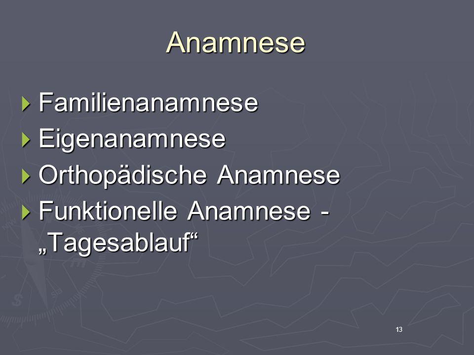 Anamnese Familienanamnese Eigenanamnese Orthopädische Anamnese