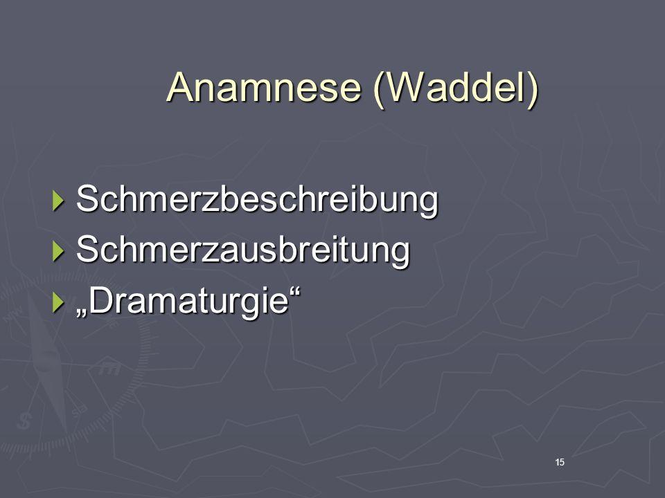 """Anamnese (Waddel) Schmerzbeschreibung Schmerzausbreitung """"Dramaturgie"""