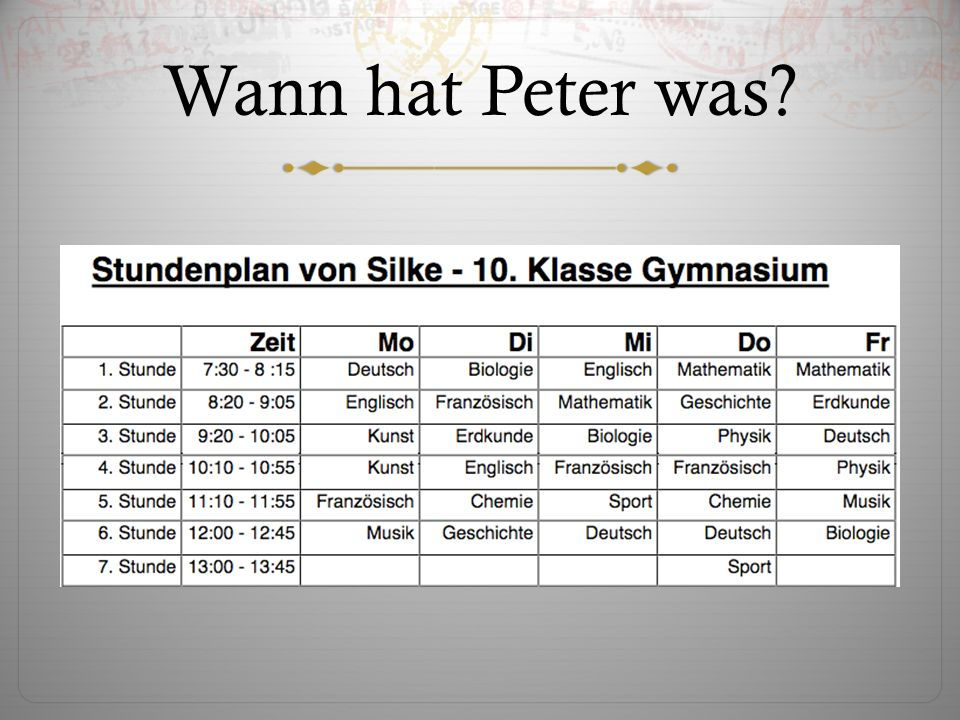 Wann hat Peter was