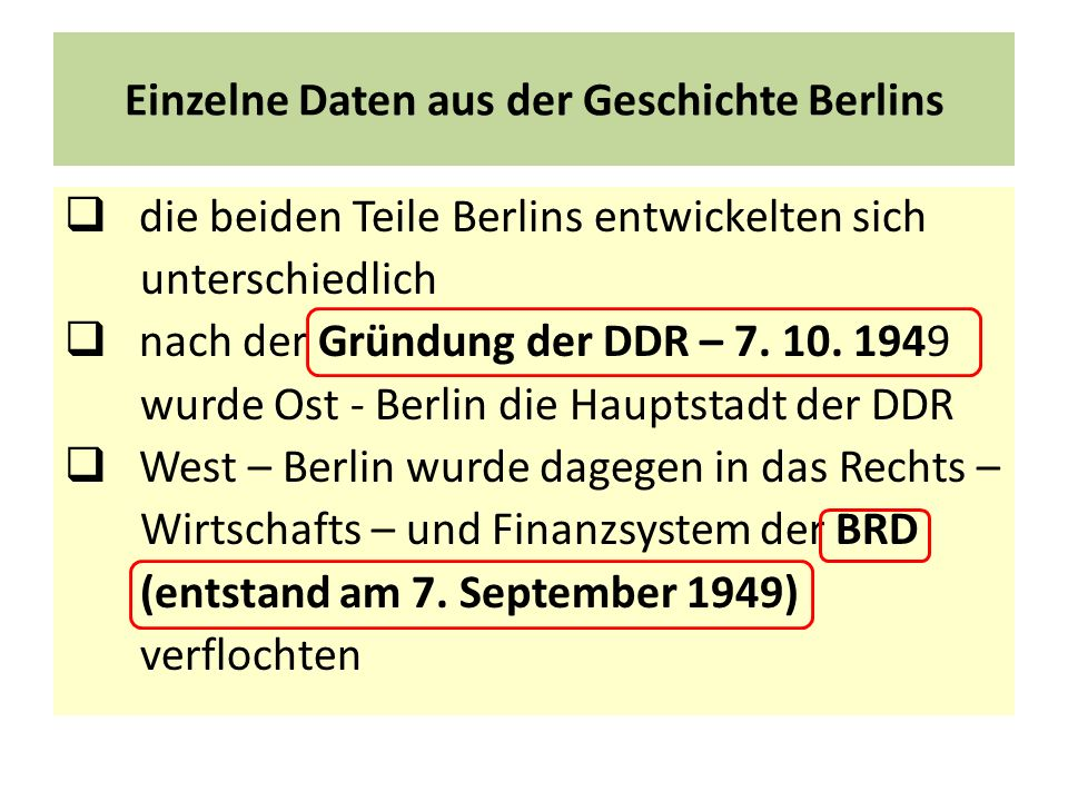 Einzelne Daten aus der Geschichte Berlins