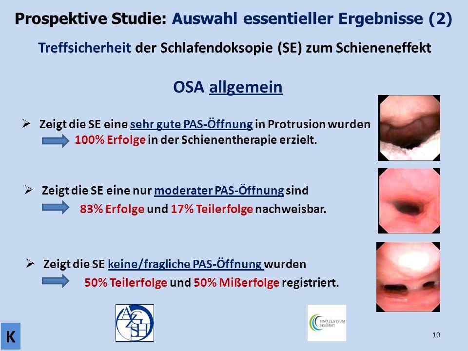 Prospektive Studie: Auswahl essentieller Ergebnisse (2)