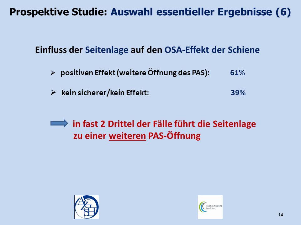 Prospektive Studie: Auswahl essentieller Ergebnisse (6)