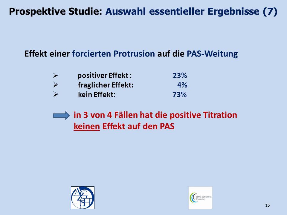 Prospektive Studie: Auswahl essentieller Ergebnisse (7)