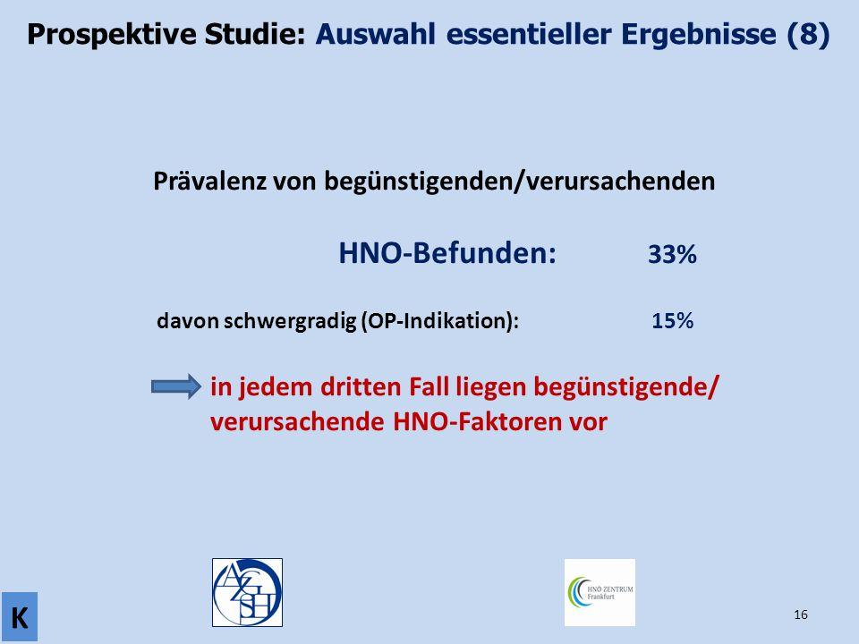 Prospektive Studie: Auswahl essentieller Ergebnisse (8)