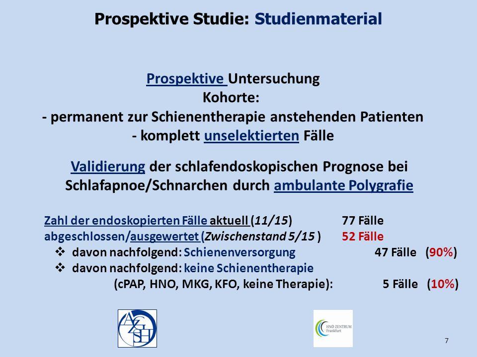 Prospektive Studie: Studienmaterial