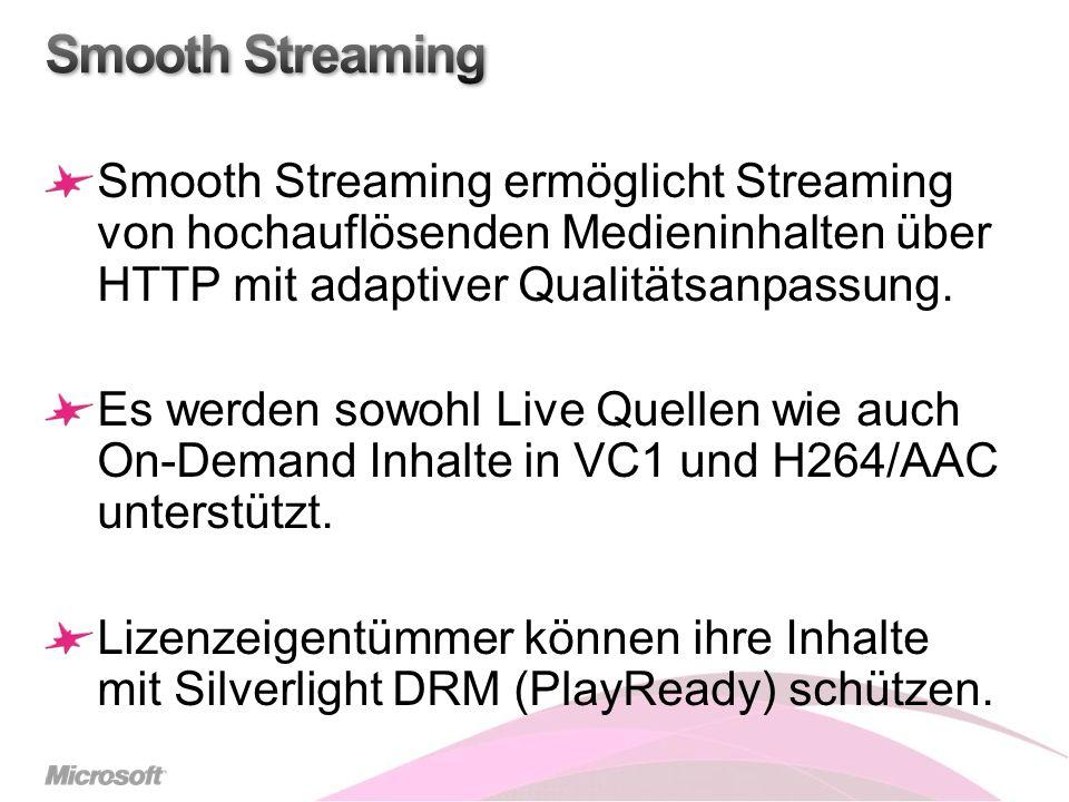 Smooth Streaming Smooth Streaming ermöglicht Streaming von hochauflösenden Medieninhalten über HTTP mit adaptiver Qualitätsanpassung.