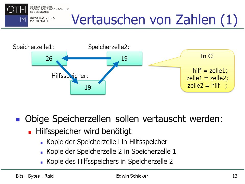 Vertauschen von Zahlen (1)