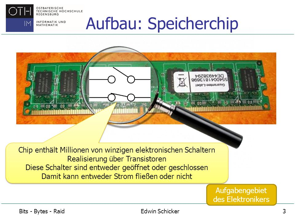 Aufbau: Speicherchip Chip enthält Millionen von winzigen elektronischen Schaltern Realisierung über Transistoren.
