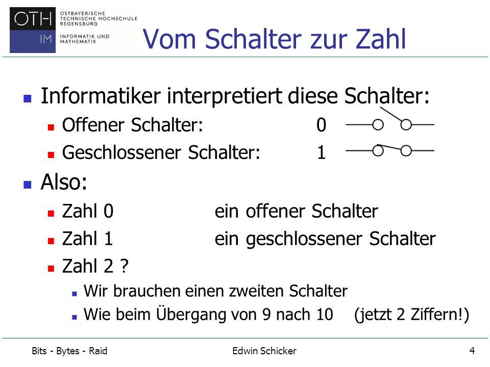 Vom Schalter zur Zahl Informatiker interpretiert diese Schalter: Also:
