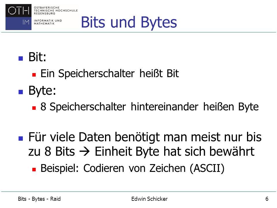Bits und Bytes Bit: Byte: