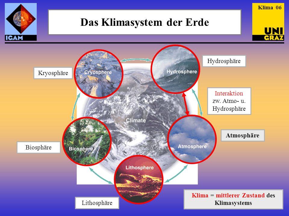 Das Klimasystem der Erde Klima = mittlerer Zustand des Klimasystems