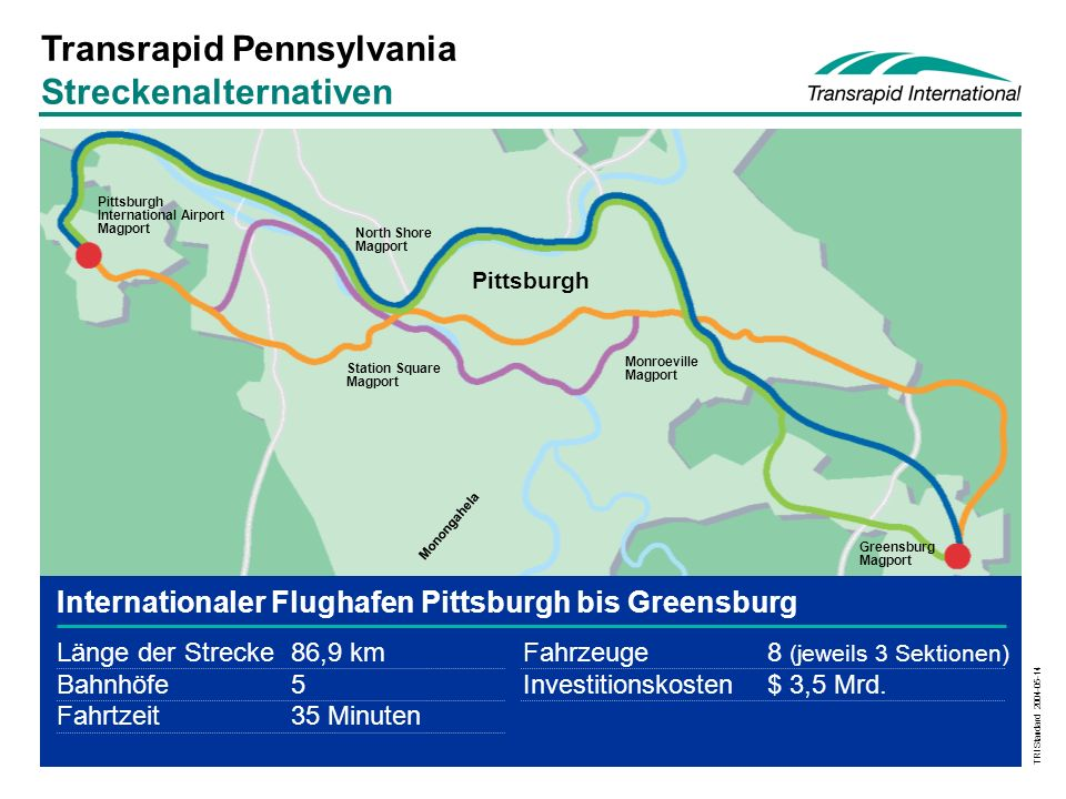 Transrapid Pennsylvania Streckenalternativen