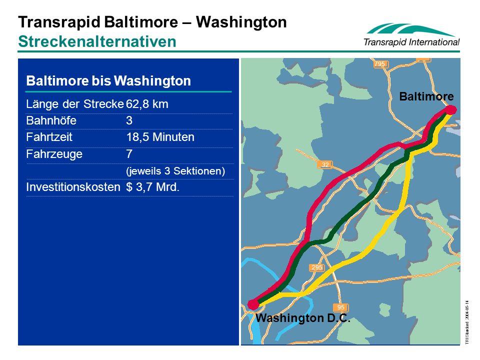 Transrapid Baltimore – Washington Streckenalternativen