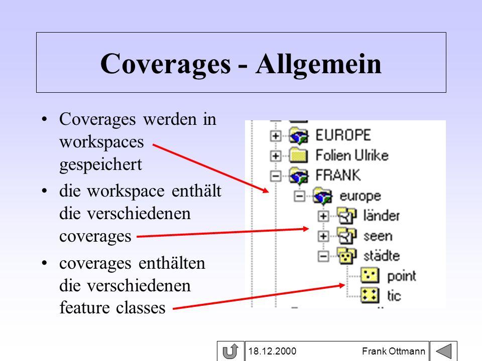Coverages - Allgemein Coverages werden in workspaces gespeichert