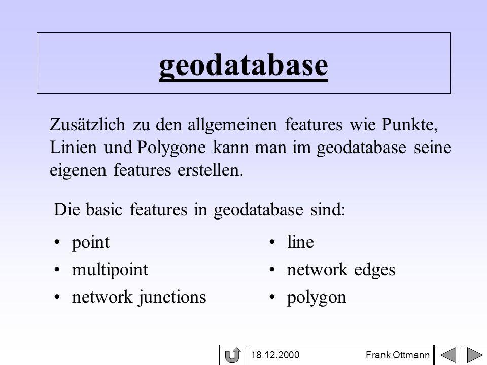geodatabase Zusätzlich zu den allgemeinen features wie Punkte,