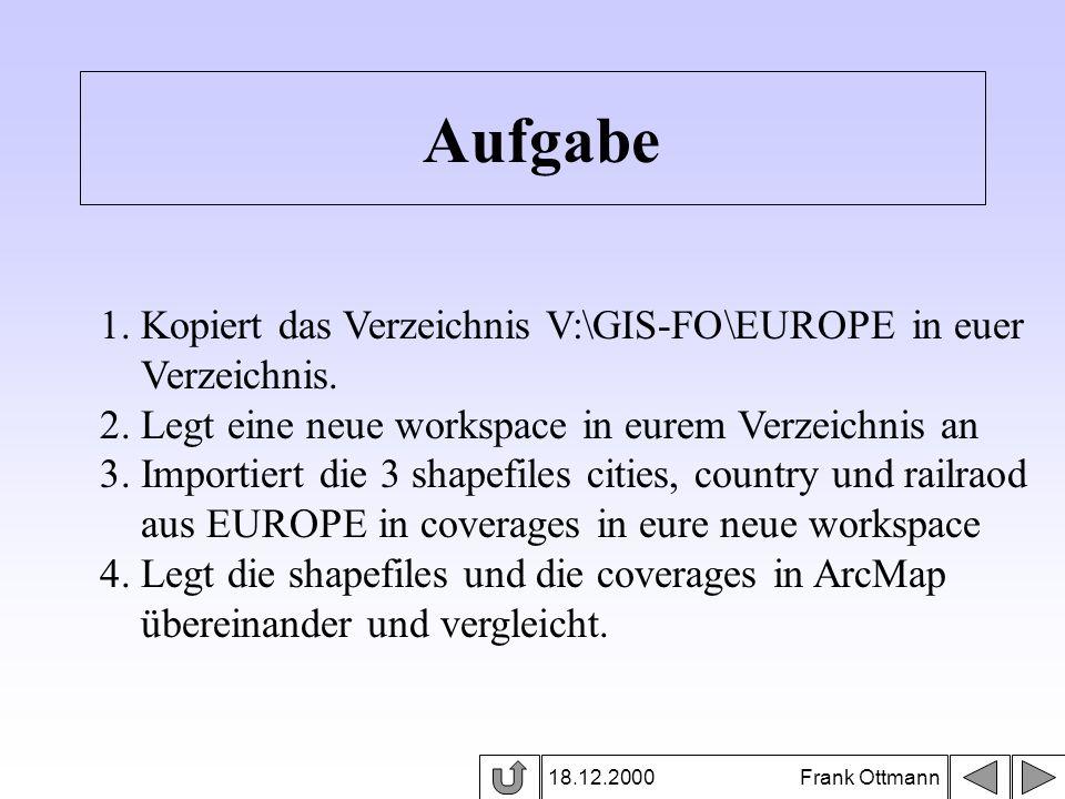 Aufgabe 1. Kopiert das Verzeichnis V:\GIS-FO\EUROPE in euer
