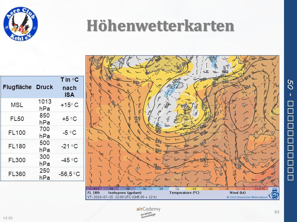 Höhenwetterkarten Flugfläche Druck T in °C nach ISA MSL 1013 hPa