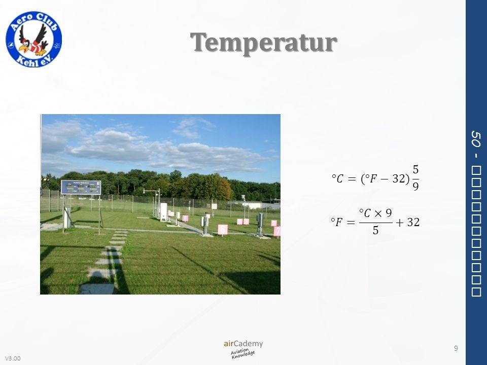 Temperatur °𝐶=(°𝐹−32) 5 9 °𝐹= °𝐶×9 5 +32