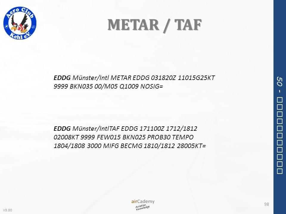 METAR / TAFEDDG Münster/Intl METAR EDDG 031820Z 11015G25KT 9999 BKN035 00/M05 Q1009 NOSIG=