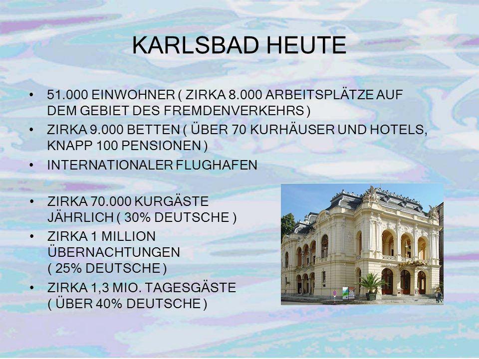 KARLSBAD HEUTE 51.000 EINWOHNER ( ZIRKA 8.000 ARBEITSPLÄTZE AUF DEM GEBIET DES FREMDENVERKEHRS )