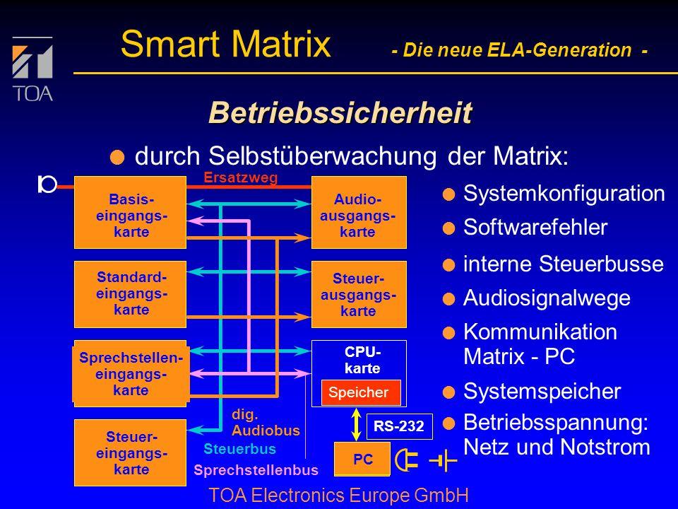Betriebssicherheit durch Selbstüberwachung der Matrix: