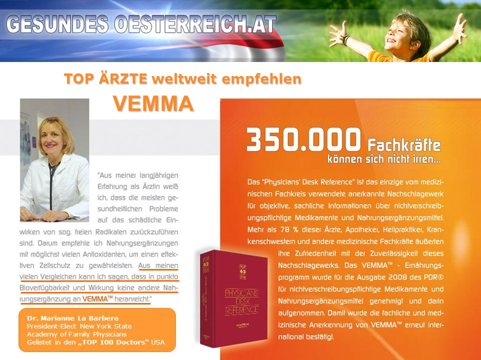 VEMMA TOP ÄRZTE weltweit empfehlen Dr. Marianne La Barbera
