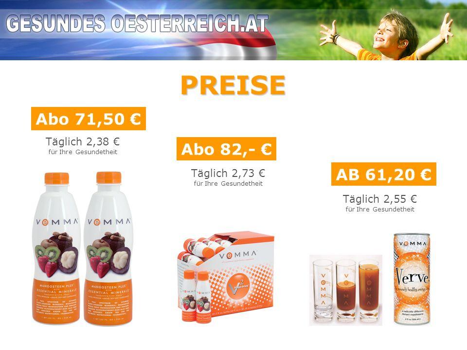 PREISE Abo 71,50 € Abo 82,- € AB 61,20 € Täglich 2,38 € Täglich 2,73 €
