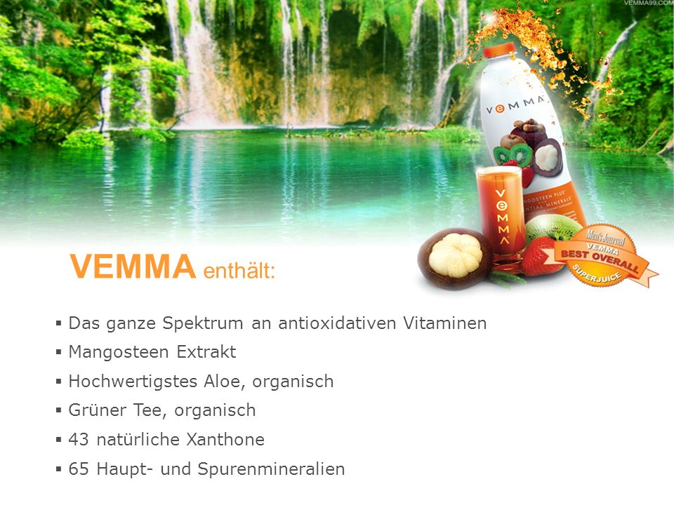 VEMMA enthält: Das ganze Spektrum an antioxidativen Vitaminen