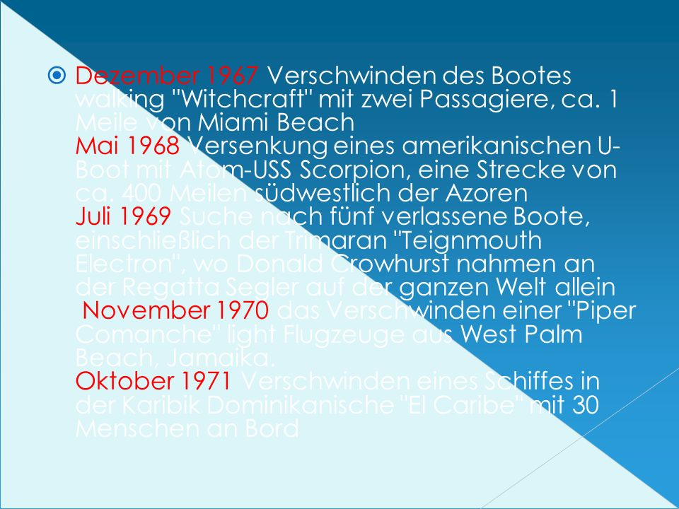 Dezember 1967 Verschwinden des Bootes walking Witchcraft mit zwei Passagiere, ca.