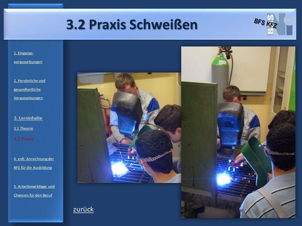3.2 Praxis Schweißen zurück BFS KFZ 3. Lerninhalte 3.2 Praxis