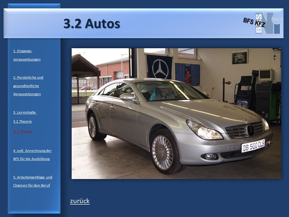 3.2 Autos zurück BFS KFZ 3.2 Praxis 1. Eingangs-voraussetzungen
