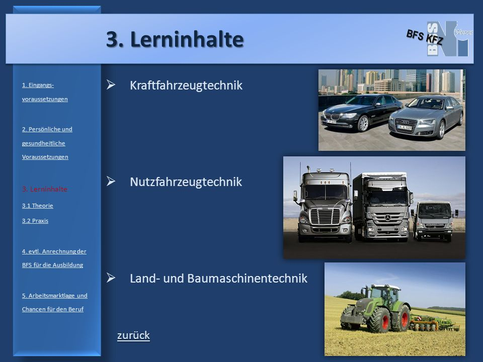 3. Lerninhalte Kraftfahrzeugtechnik Nutzfahrzeugtechnik