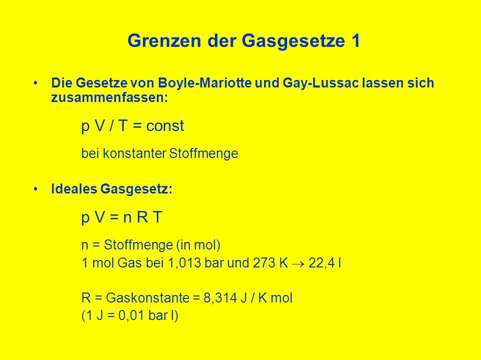 Grenzen der Gasgesetze 1