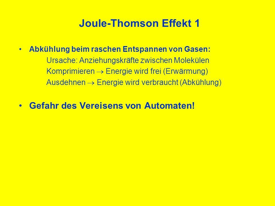 Joule-Thomson Effekt 1 Gefahr des Vereisens von Automaten!