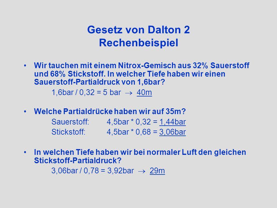 Gesetz von Dalton 2 Rechenbeispiel