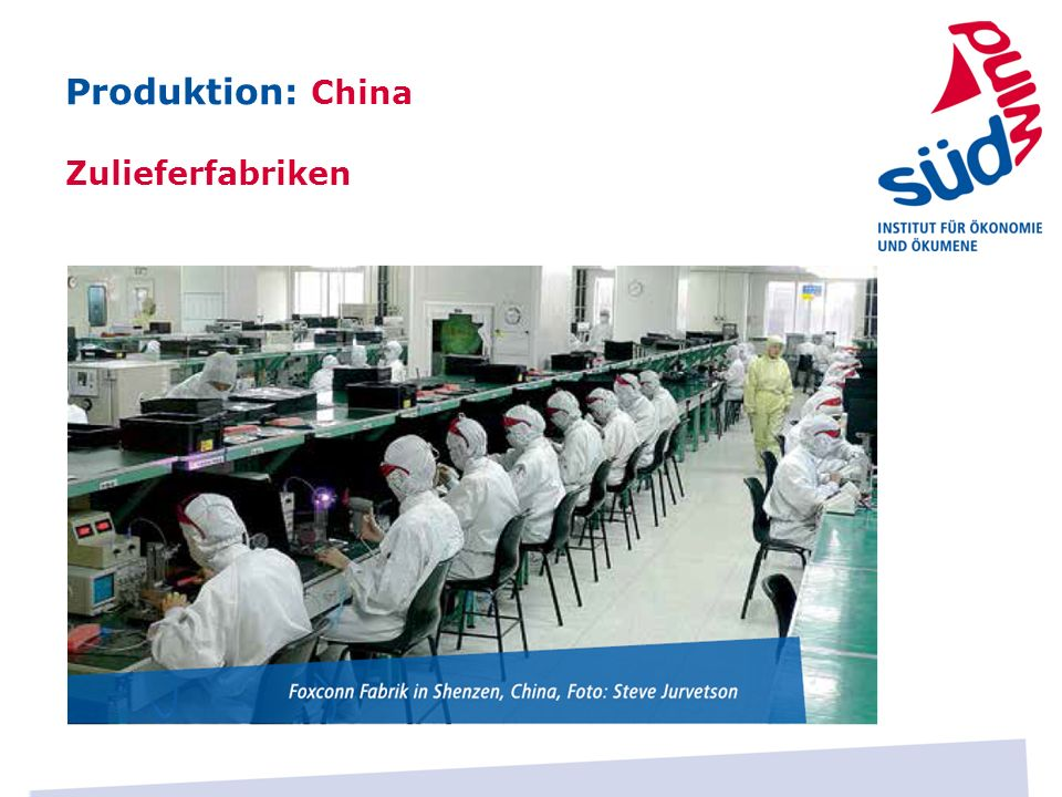 Produktion: China Zulieferfabriken