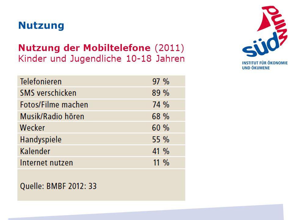 Nutzung Nutzung der Mobiltelefone (2011) Kinder und Jugendliche 10-18 Jahren