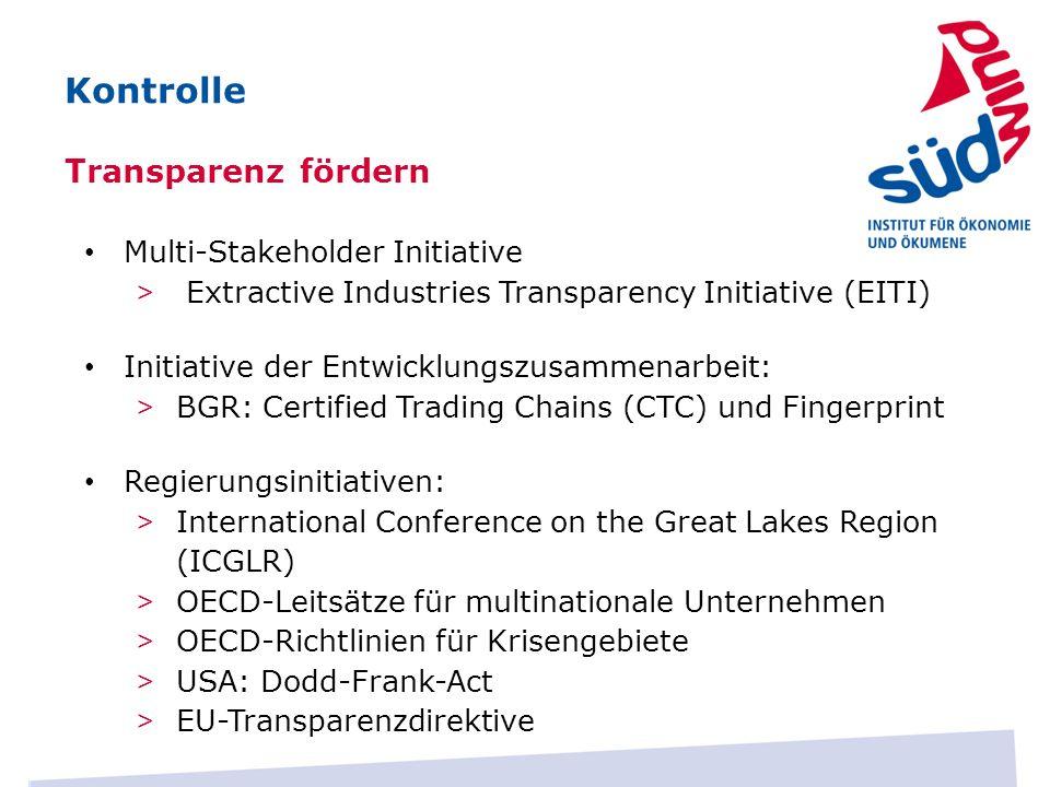 Kontrolle Transparenz fördern Multi-Stakeholder Initiative