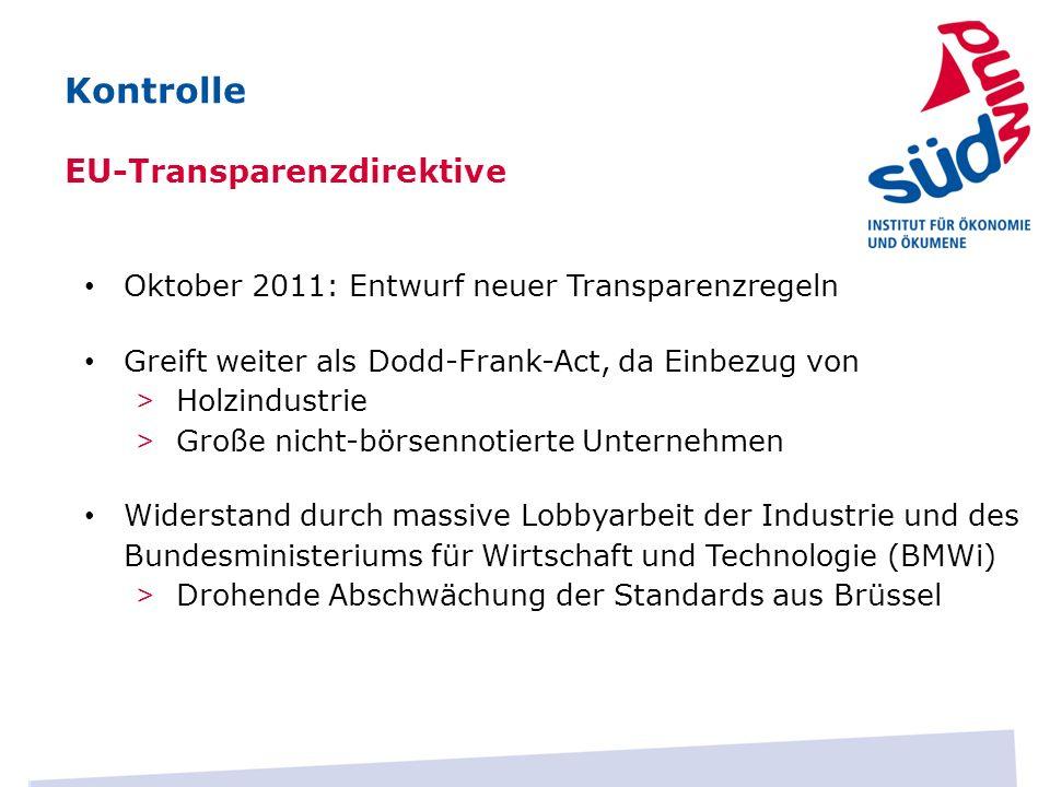 Kontrolle EU-Transparenzdirektive