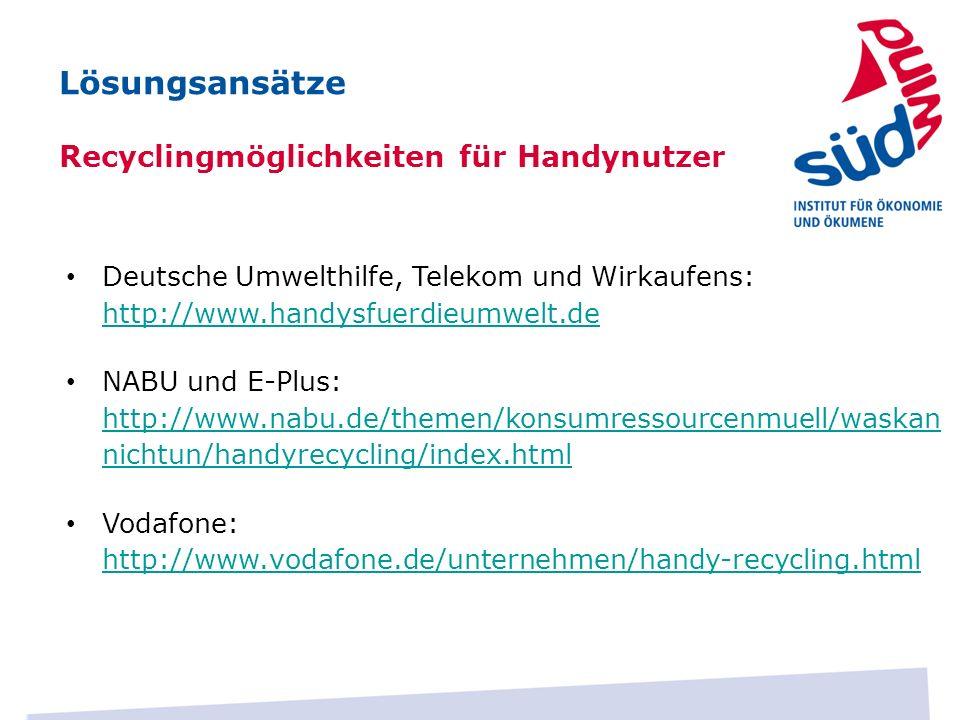 Lösungsansätze Recyclingmöglichkeiten für Handynutzer