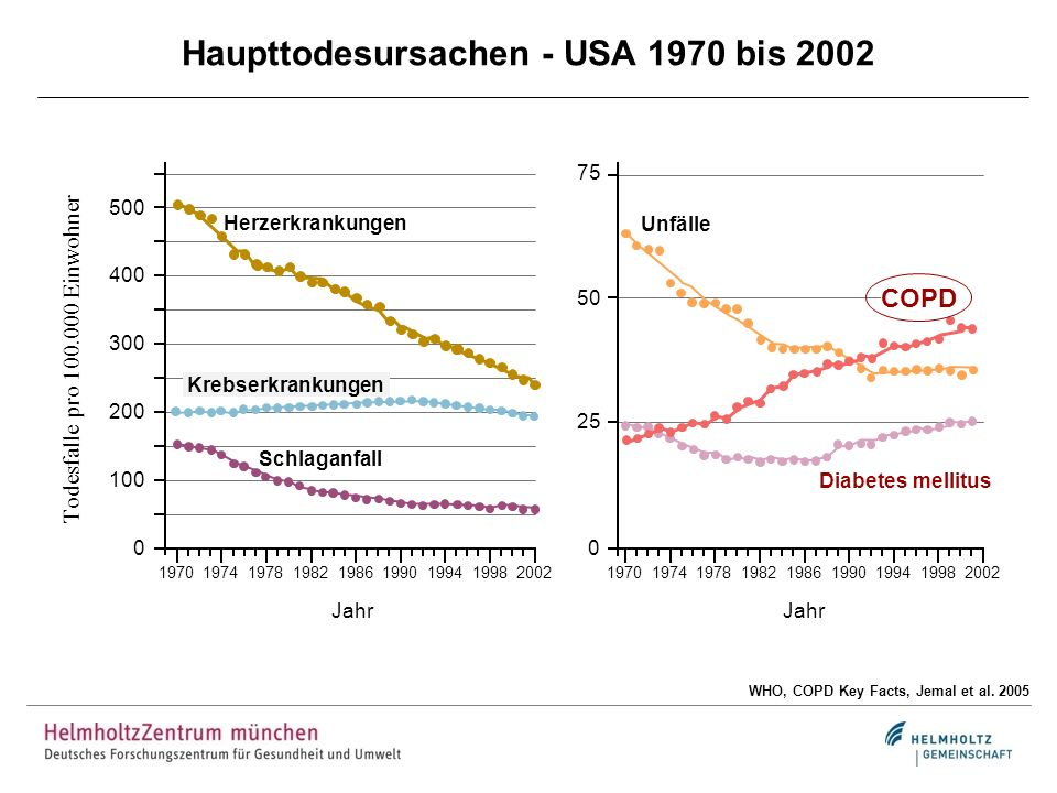 Haupttodesursachen - USA 1970 bis 2002