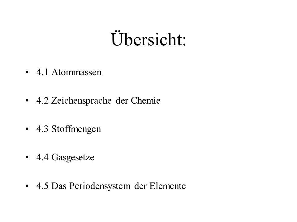 Übersicht: 4.1 Atommassen 4.2 Zeichensprache der Chemie