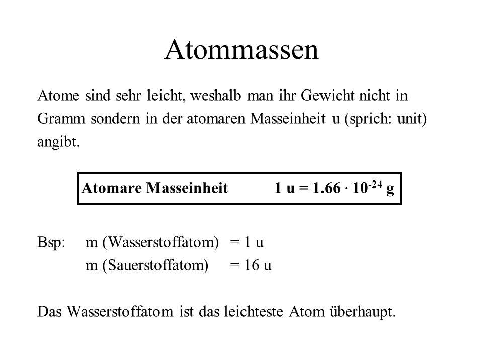 Atomare Masseinheit 1 u = 1.66 ∙ 10-24 g