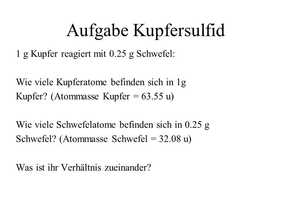 Aufgabe Kupfersulfid 1 g Kupfer reagiert mit 0.25 g Schwefel:
