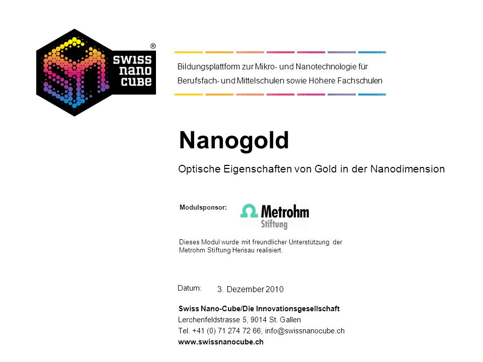 Optische Eigenschaften von Gold in der Nanodimension