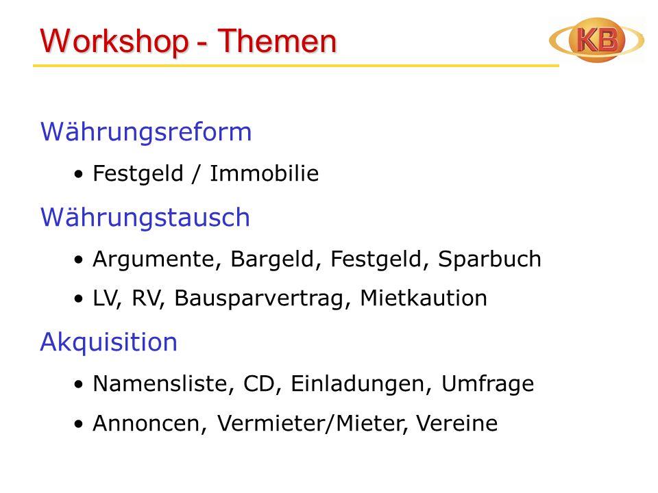 Workshop - Themen Währungsreform Währungstausch Akquisition