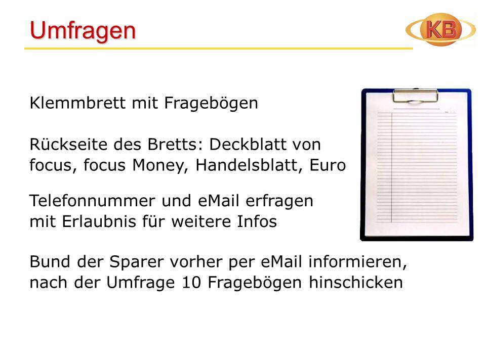 Umfragen Klemmbrett mit Fragebögen Rückseite des Bretts: Deckblatt von