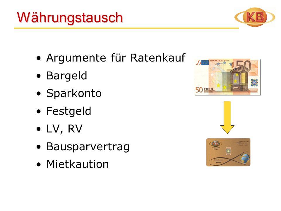 Währungstausch Argumente für Ratenkauf Bargeld Sparkonto Festgeld