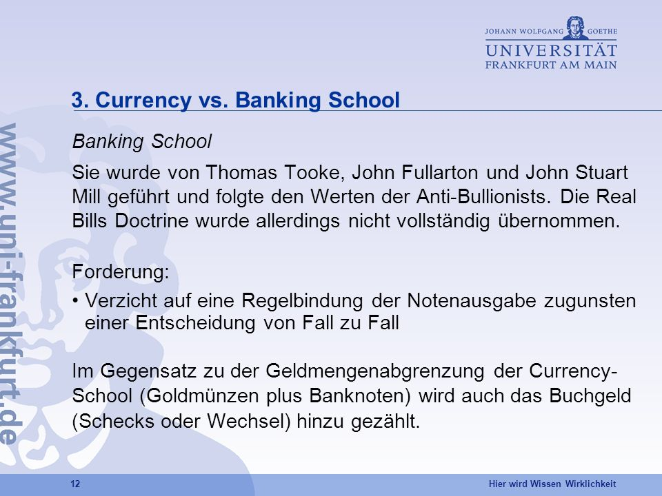 3. Currency vs. Banking School